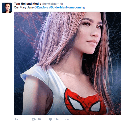 Hair - Tom Holland Media @tomhollabr 4h Our Mary Jane @Zendaya #SpiderMan Homecoming t 78 114