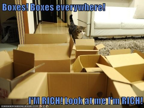 Boxes! Boxes everywhere! I'M RICH! Look at me I'm RICH!
