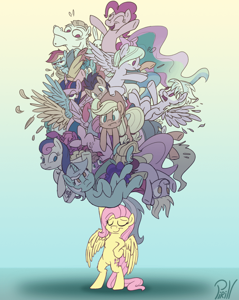 angel,applejack,bulk biceps,some other ponies,kitchen sink,doctor whooves,cloud chaser,derpy hooves,twilight sparkle,flitter,lyra heartstrings,pinkie pie,princess celestia,fluttershy,bon bon,rainbow dash