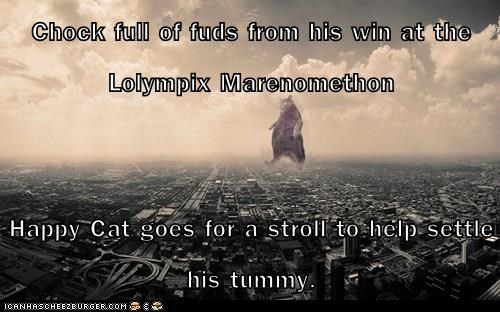 Chock full of fuds from his win at the Lolympix Marenomethon  Happy Cat goes for a stroll to help settle his tummy.