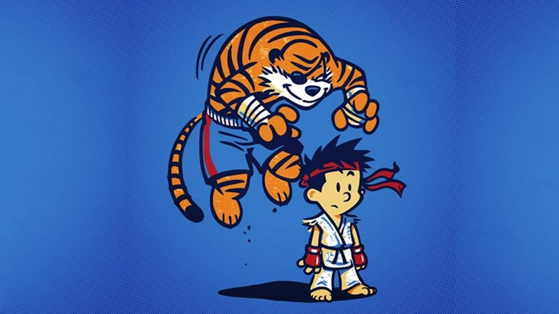 Street fighter,cartoons,calvin & hobbes,mash up,video games