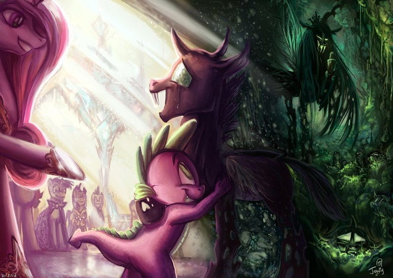 spike,thorax,princess cadence,chrysalis,the times they are a changeling