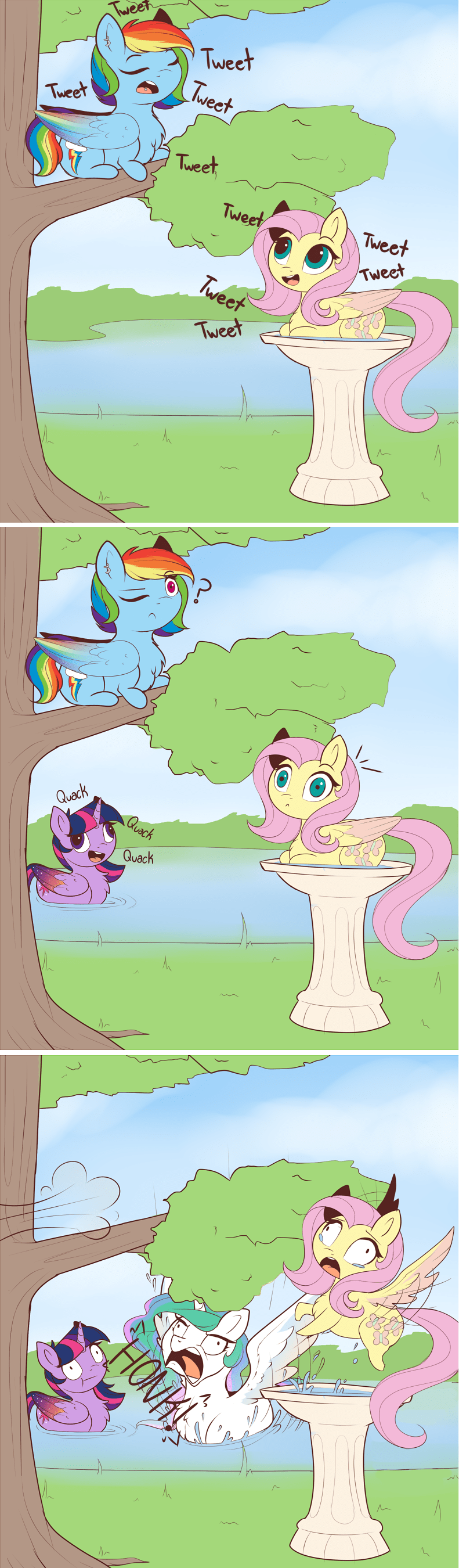 twilight sparkle,comic,princess celestia,acting like animals,fluttershy,rainbow dash