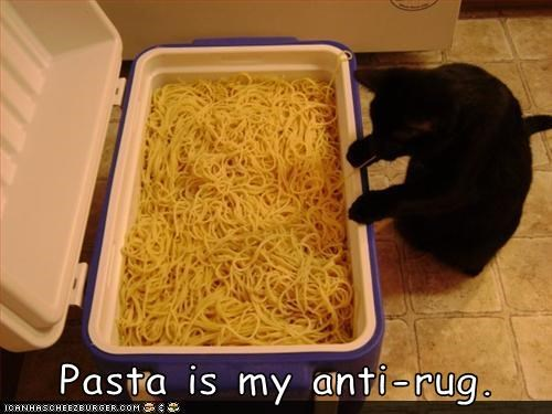 Pasta is my anti-rug.