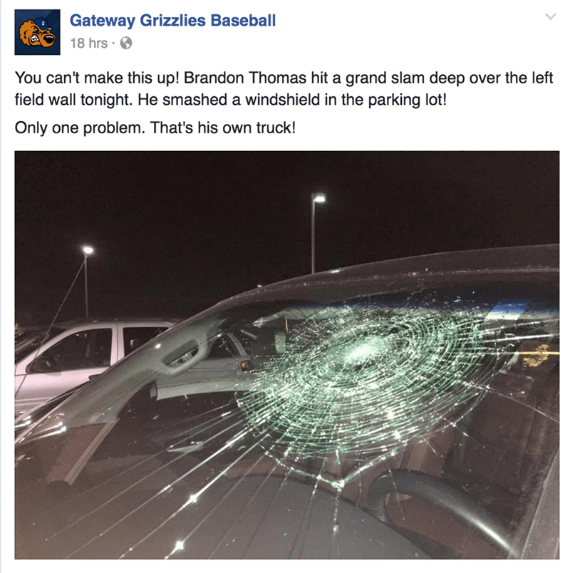 funny fail video baseball player hits home run that smashes his own windshield