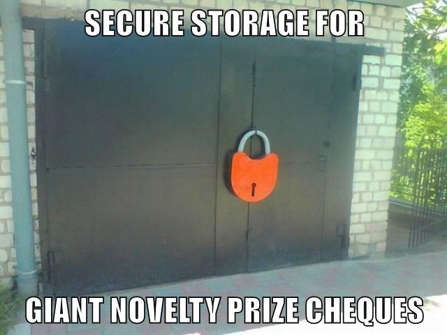 SECURE STORAGE FOR  GIANT NOVELTY PRIZE CHEQUES