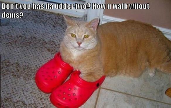 Don't you has da udder two? How u walk wifout dems?