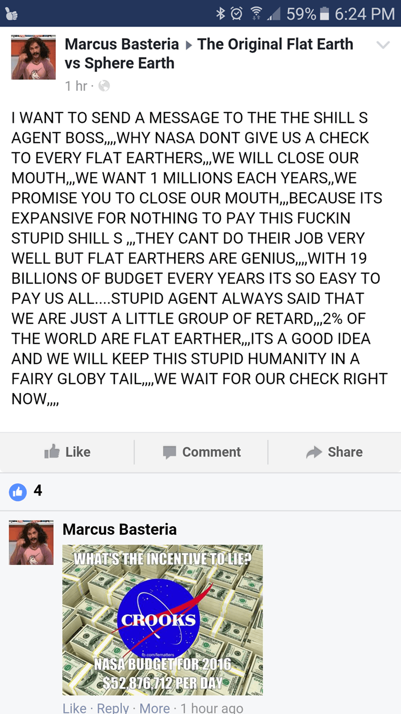 nasa failbook facebook flat earther space