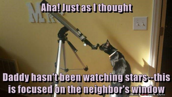Aha! Just as I thought  Daddy hasn't been watching stars--this is focused on the neighbor's window