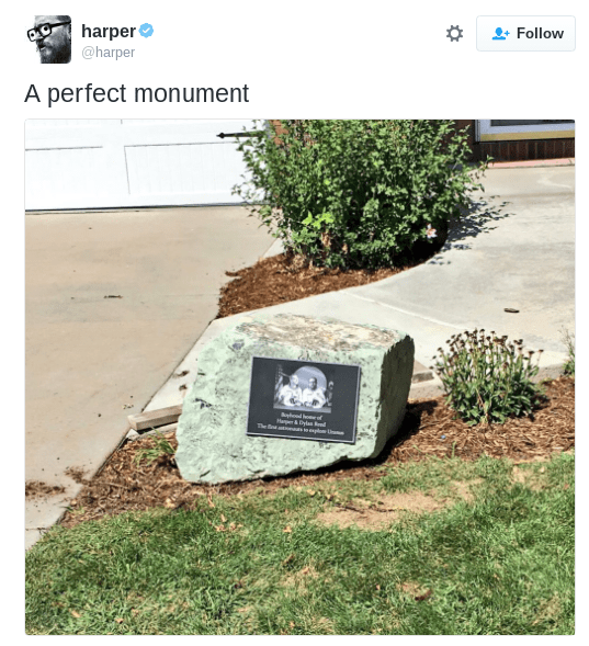 "image prank monument Brothers Troll Their Entire Neighborhood by Installing a Beautiful ""Monument"" in Their Parent's Yard"