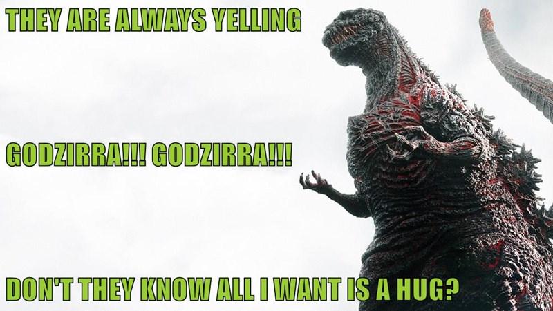 THEY ARE ALWAYS YELLING    GODZIRRA!!! GODZIRRA!!! DON'T THEY KNOW ALL I WANT IS A HUG?
