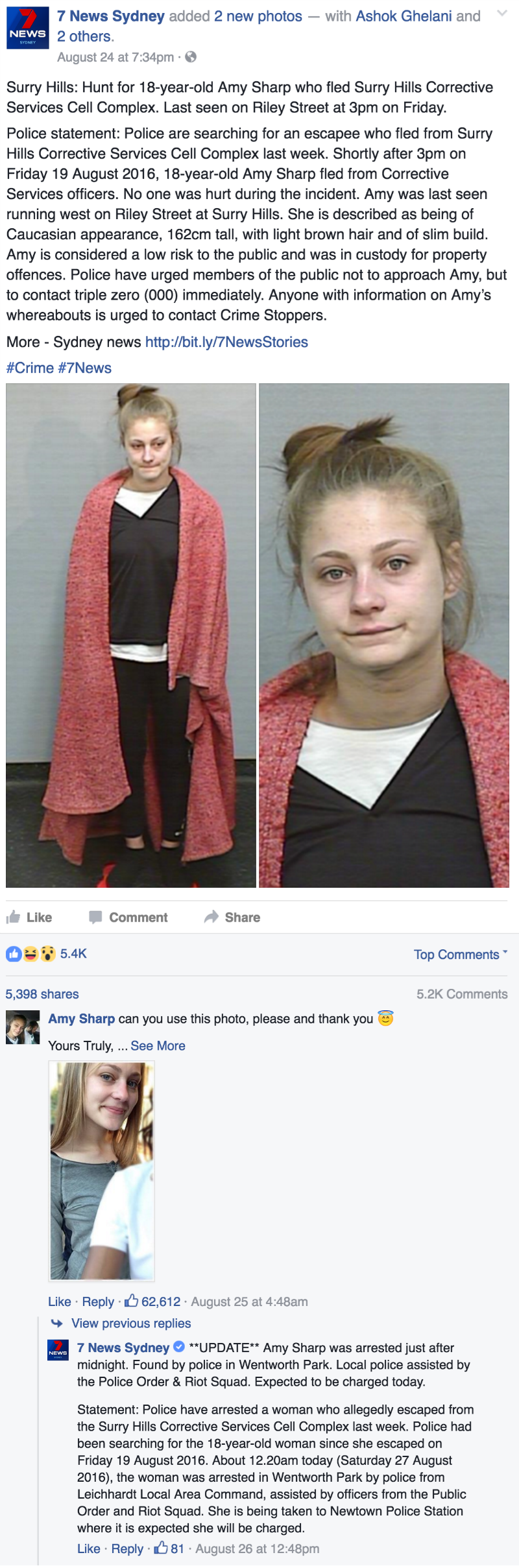 funny fail image Australian fugitive gets caught after asking for a better mugshot on facebook