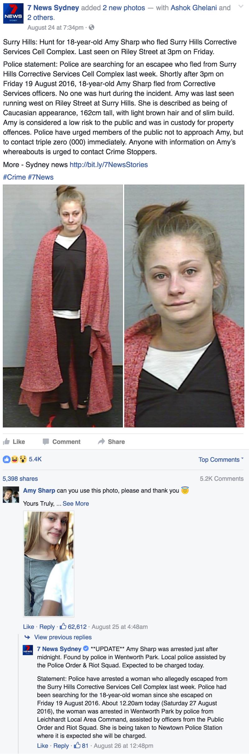 funny fail image Australian fugitive gets caught after asking for a better mugshot on facebook