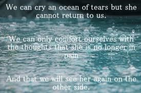 We can cry an ocean of tears but she cannot return to us. We can only comfort ourselves with the thoughts that she is no longer in pain And that we will see her again on the other side.