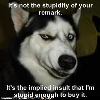 dogs insult caption remark stupidity implied - 8972545792