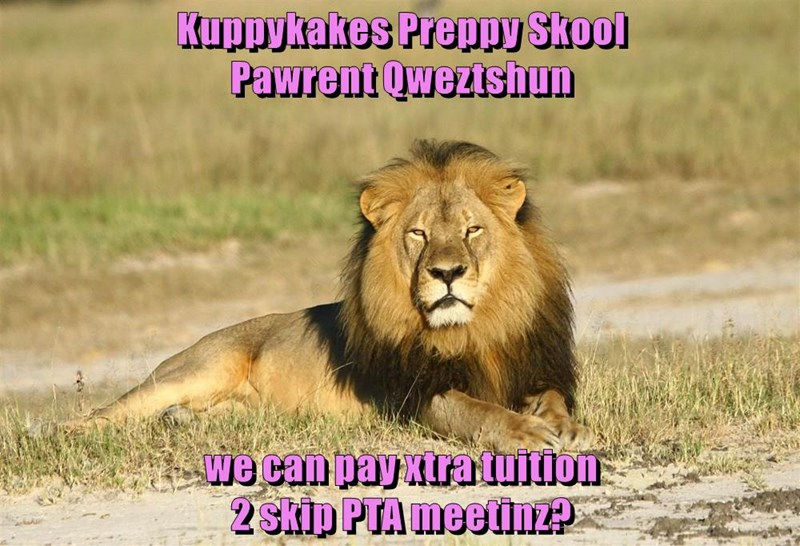 Kuppykakes Preppy Skool                                             Pawrent Qweztshun  we can pay xtra tuition                                                                                           2 skip PTA meetinz?