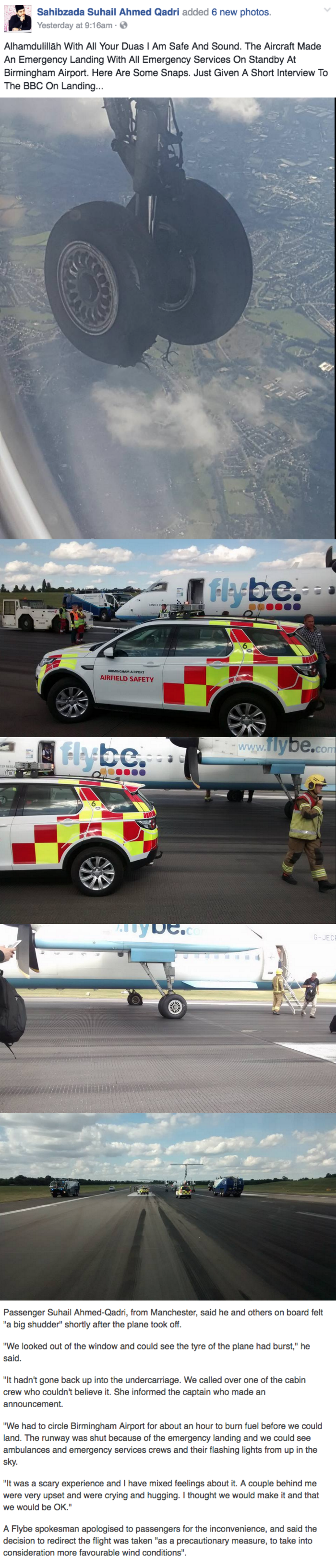 fail facebook image tire bursts on flight from Amsterdam and passengers alert pilot for emergency landing