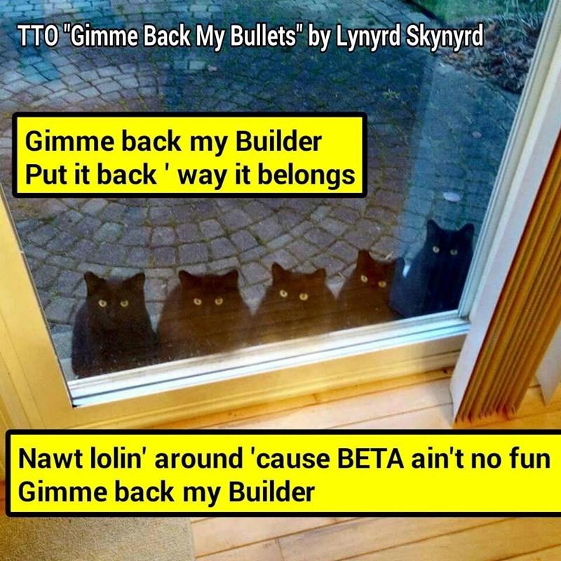 """BETA Fix The Builder!"" (TTO ""Gimme Back My Bullets"" by Lynyrd Skynyrd) (recaption: http://tinyurl.com/zhbwhrh"
