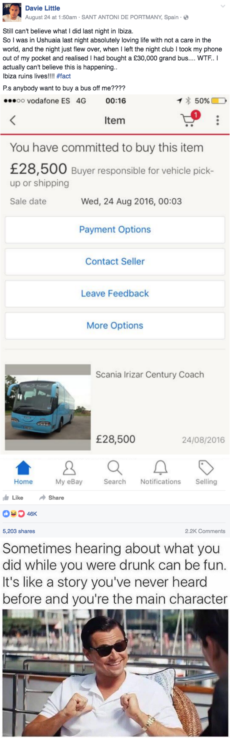 funny fail image guy bought bus online after partying in Ibiza
