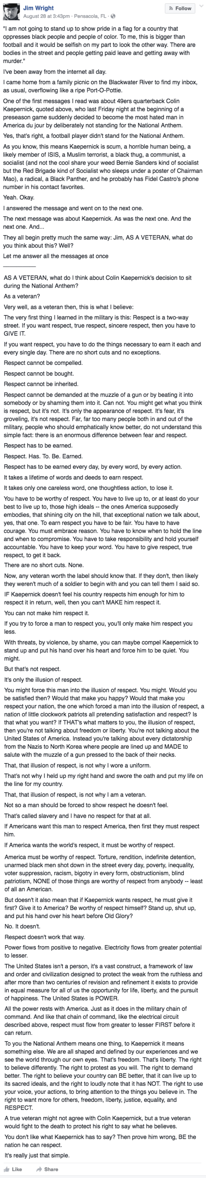 win Veteran Jim Wright responds to Colin Kaepernick's refusal to stand on facebook
