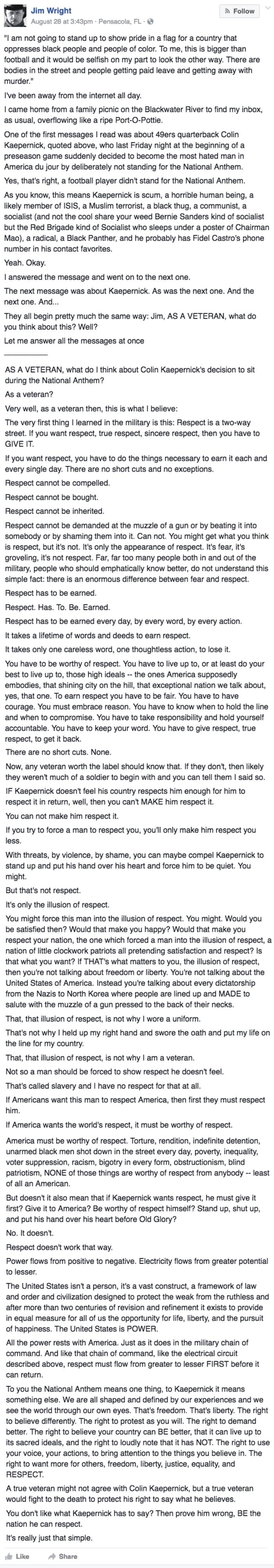 win Veteran Jim Wright responds to Colin Kaepernick's refusal to stand on facebook