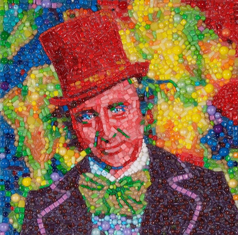 win artist made portrait of Willy Wonka with candy as tribute to Gene Wilder