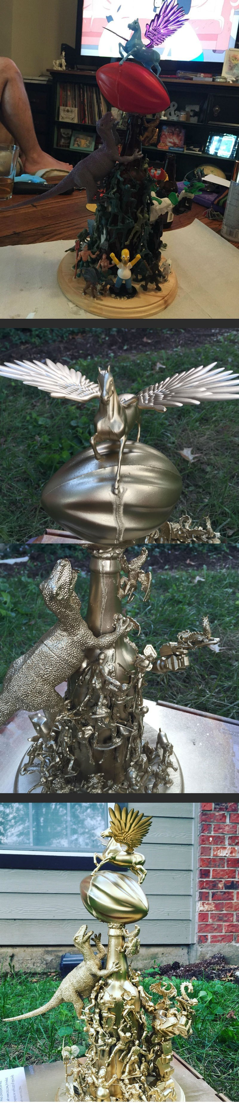 win badass fantasy football league trophy gets golden spray paint