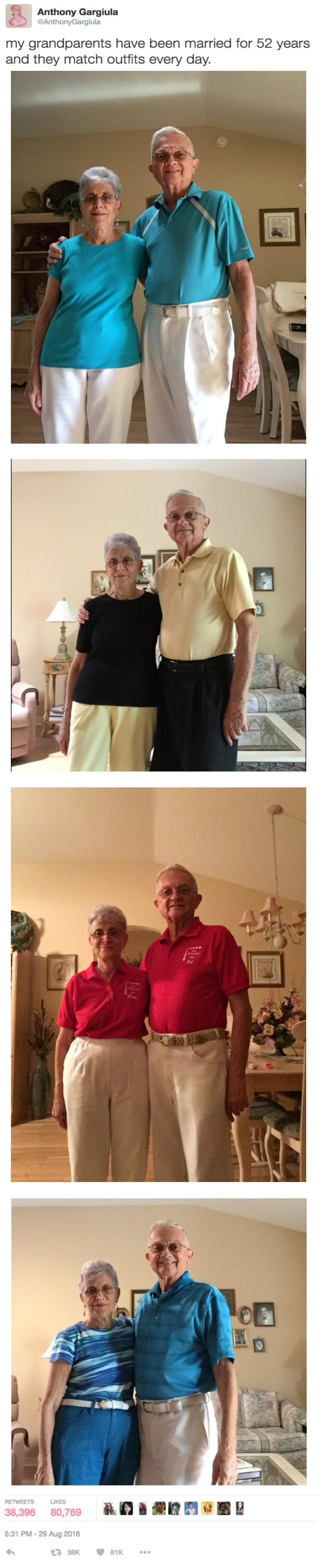 win the key to this 52 year marriage is coordinating matching outfits everyday