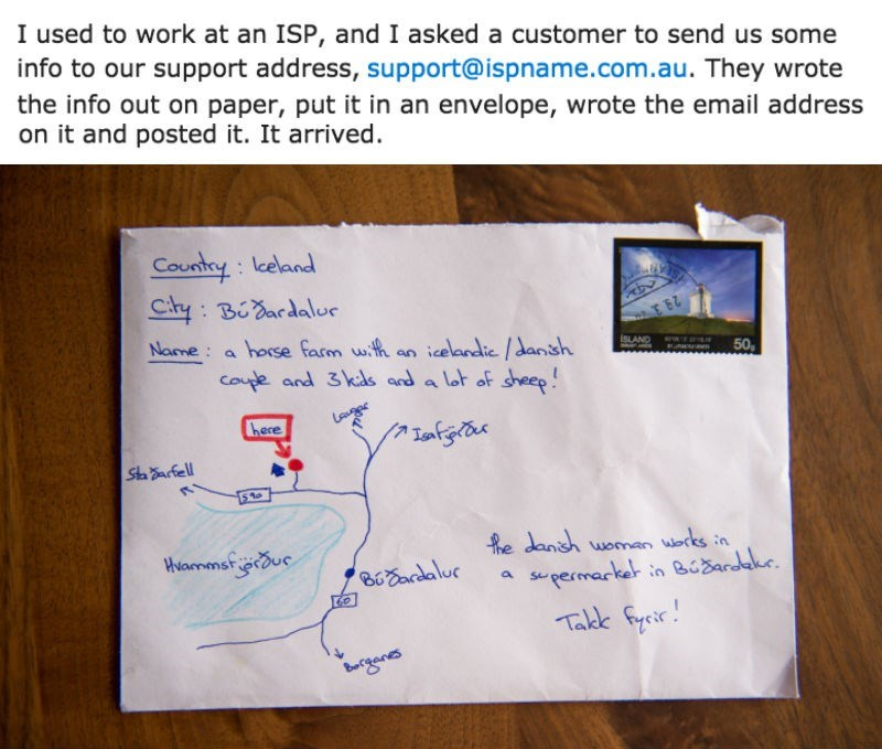 win image Icelandic postal service delivers mail with hand drawn map as address
