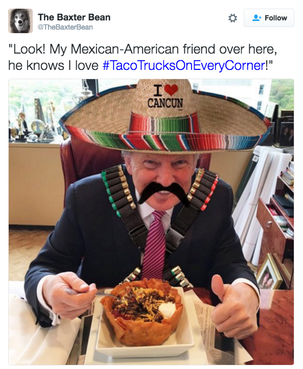 "Food - The Baxter Bean Follow @TheBaxterBean ""Look! My Mexican-American friend over here, he knows I love #TacoTrucksOnEveryCorner!"" CANCUN"