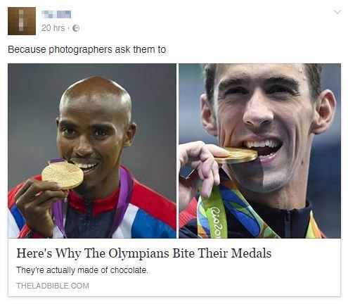 Nose - 20 hrs Because photographers ask them to Here's Why The Olympians Bite Their Medals They're actually made of chocolate. THELADBIBLE COM Rio2o