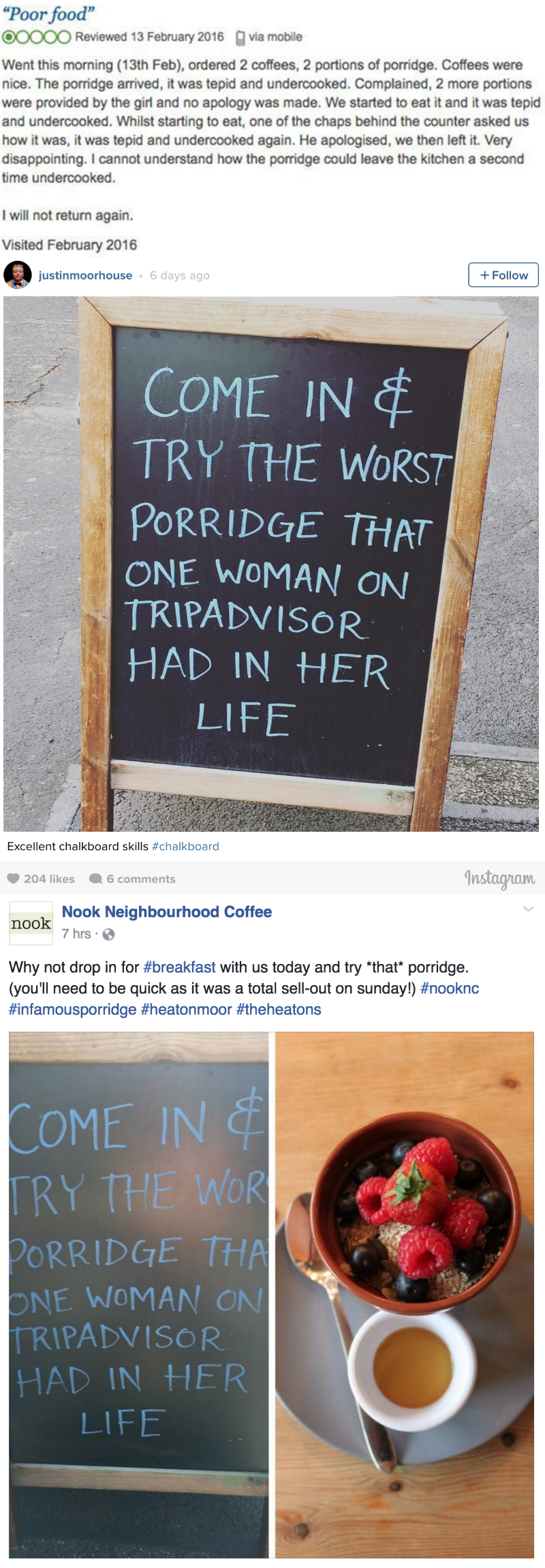 win British cafe responds to 1 star review with clever chalkboard sign