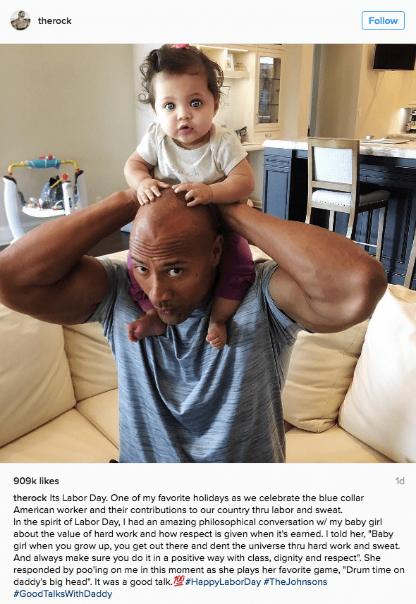 funny fail image The Rock's daughter poops on him after Labor Day philosophy talk