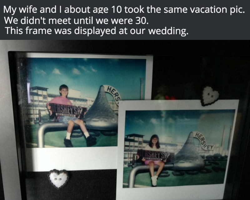 win image couple discover that they took identical vacation photos at wedding