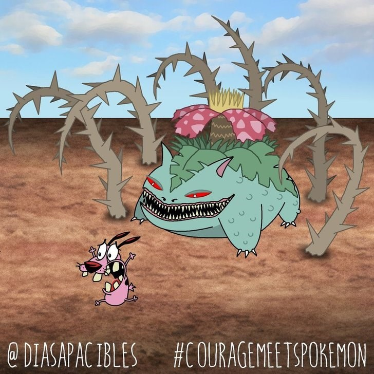 courage the cowardly dog running away from huge ivysaur pokemon