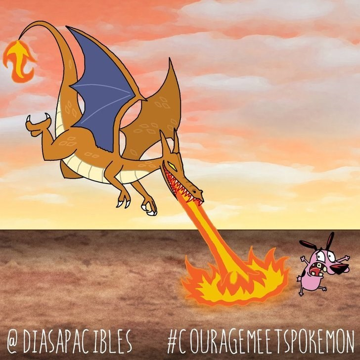 courage the cowardly dog running away from dragon breathing fire on it