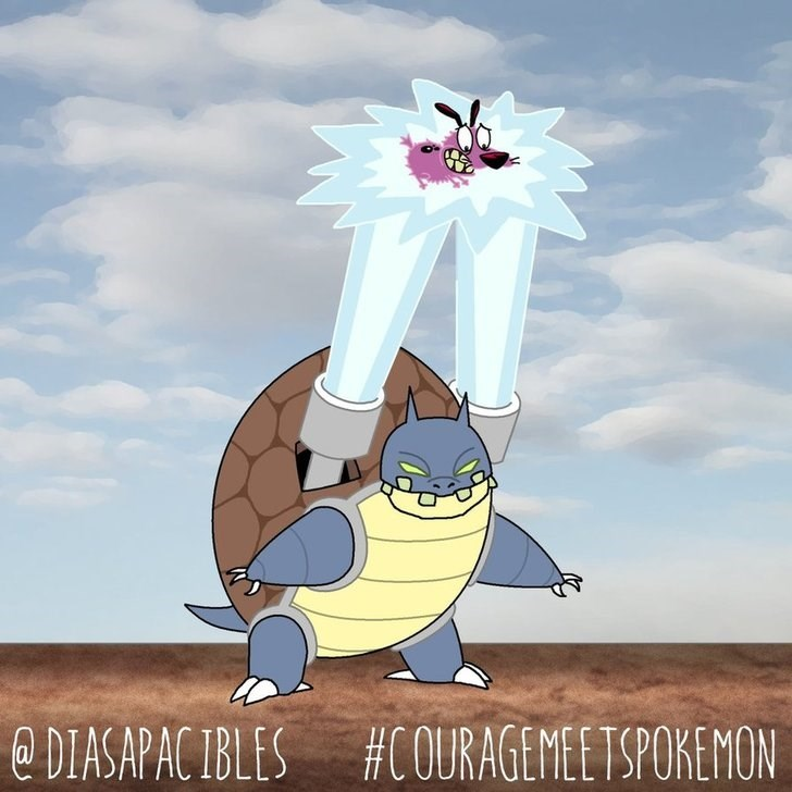 courage the cowardly dog being zapped by lasers from squirtles shell