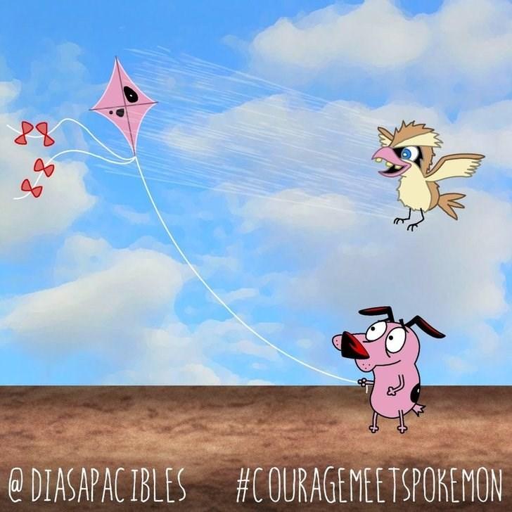 courage the cowardly dog flying a kite near a bird