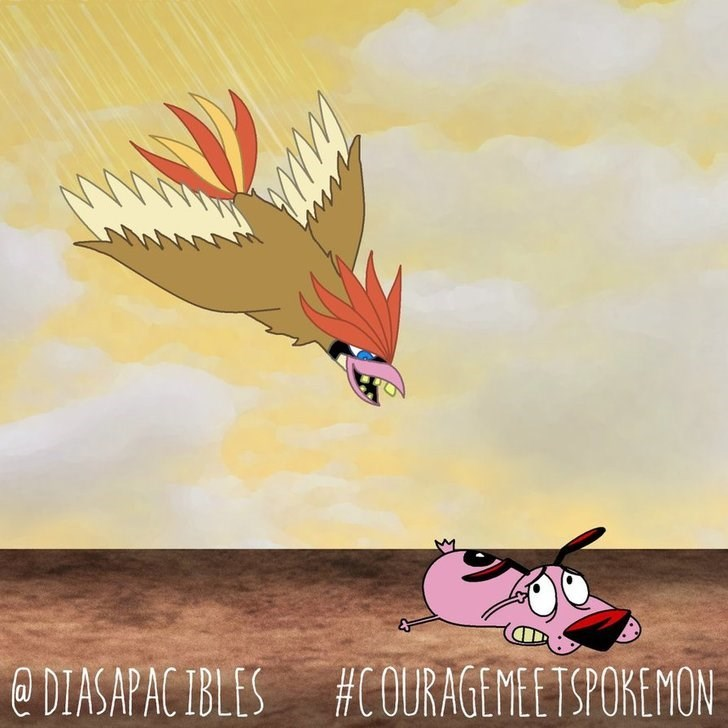courage the cowardly dog lying on the ground scared of a bird swooping at him