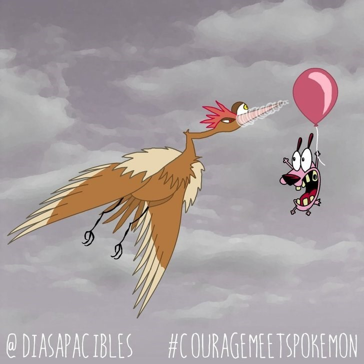 courage the cowardly dog flying by a pink balloon and a big bird is about to pop it with its beak