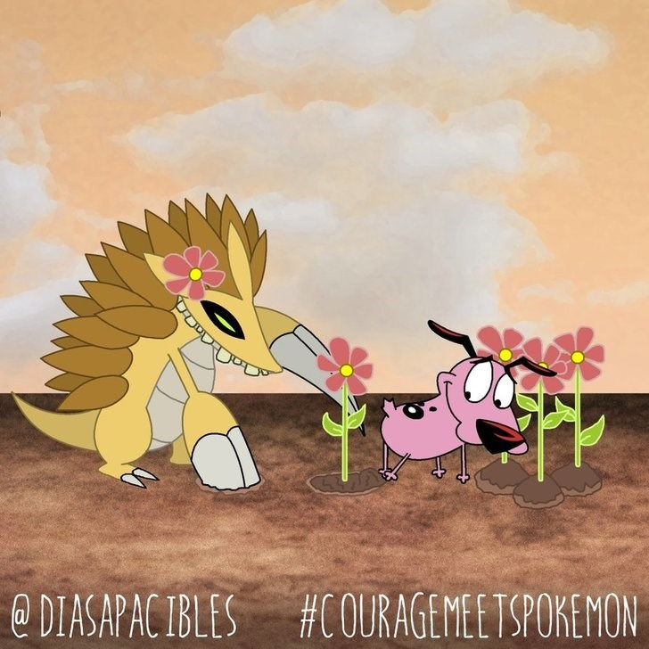 courage the cowardly dog planting flowers with big hedgehog