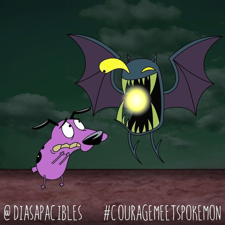 courage the cowardly dog scared of zubat with glowing orb in mouth