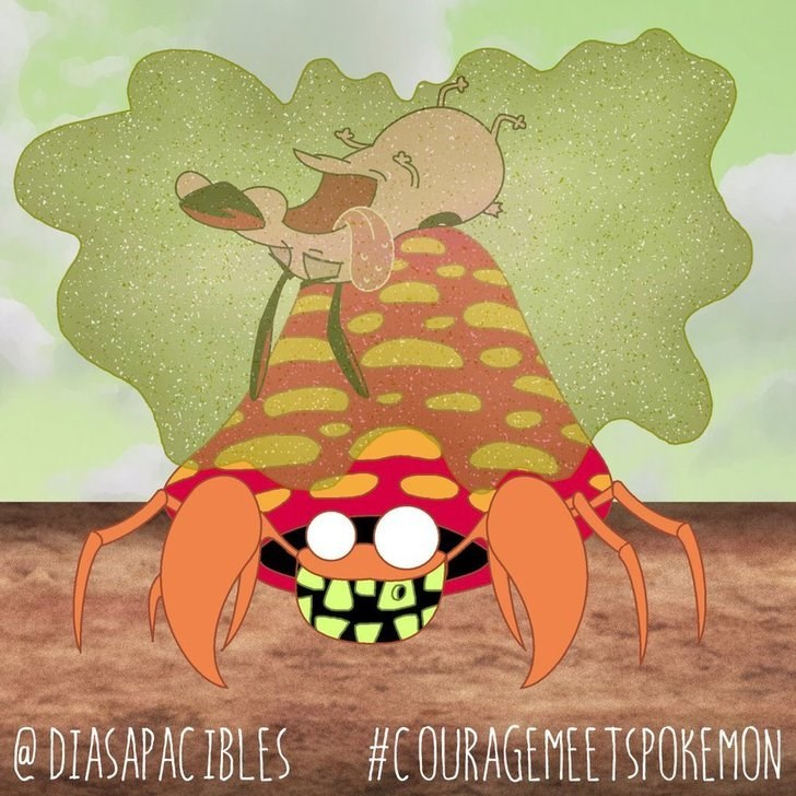 courage the cowardly dog unconscious on the shell of giant parasect