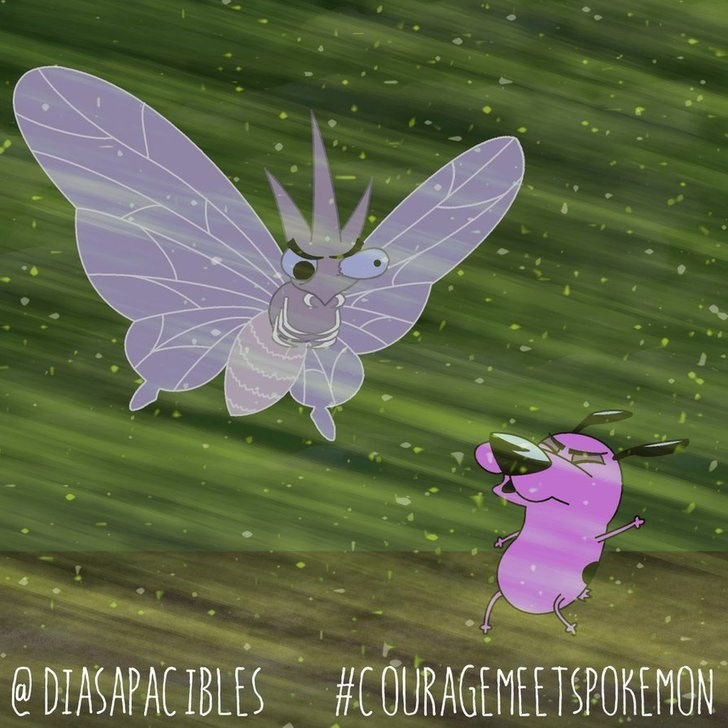 courage the cowardly dog trying to not be blown away by venomoth