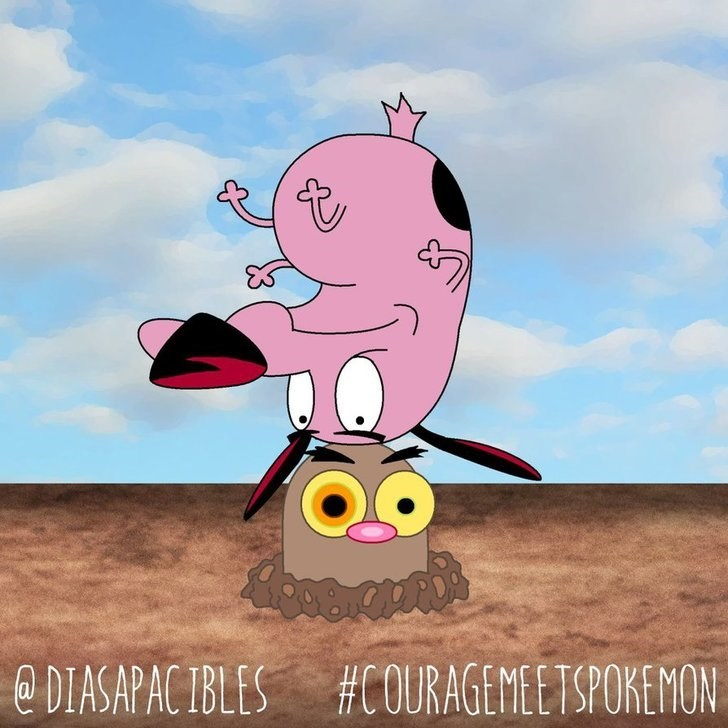 courage the cowardly dog upside down on head of diglett
