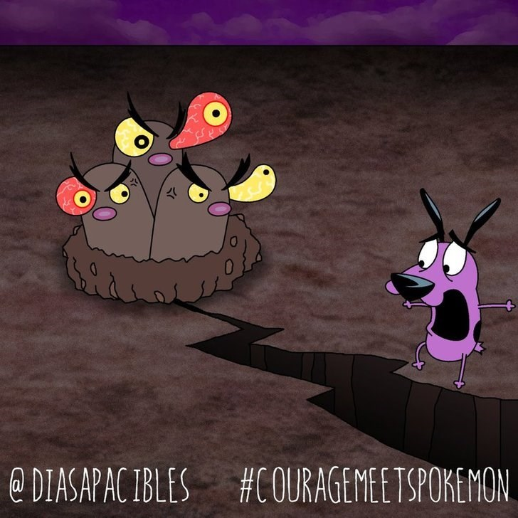 courage the cowardly dog scared of crack in ground made by dugtrio