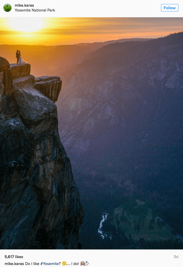 win image stranger take beautiful Yosemite national park wedding sunset photograph