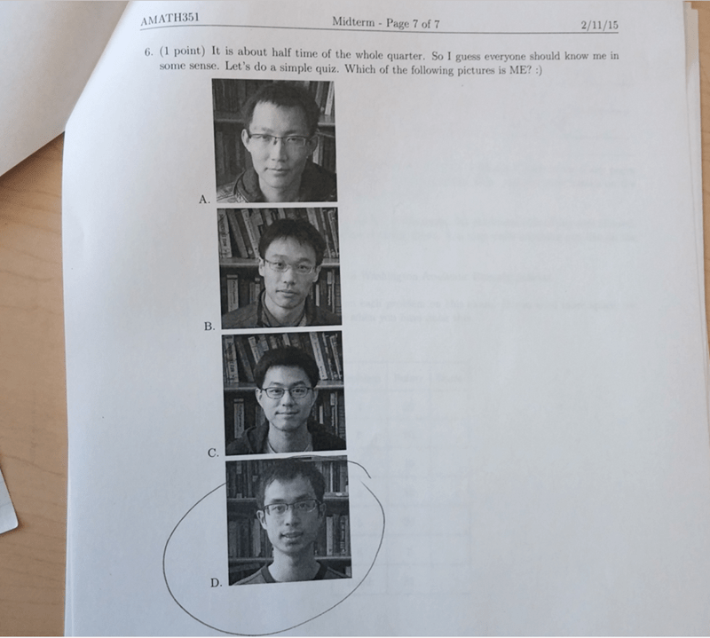 funny school image TA adds picture question of which he is on exam for maximum shame