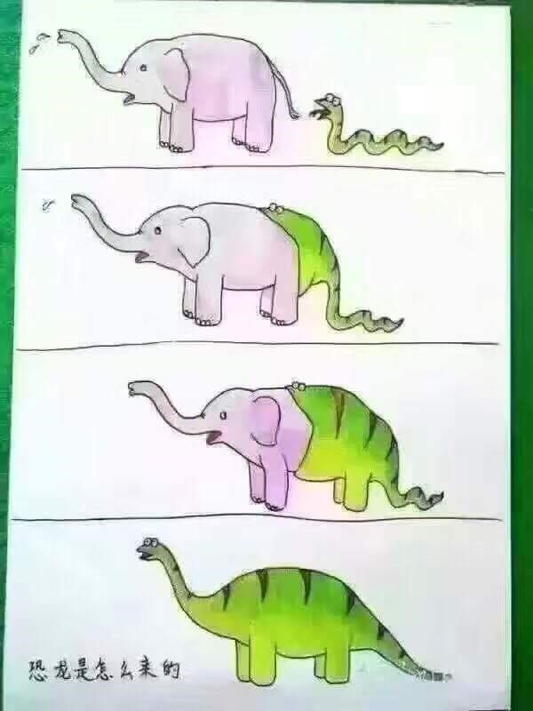 funny parenting image dinosaur evolution drawing