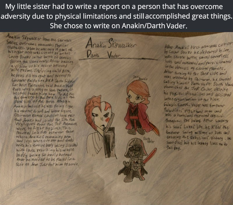 funny school image little girl writes report on overcoming disability on darth vader